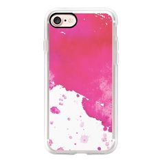 Hot pink modern watercolor splatters artistic trendy pattern - iPhone... ($40) ❤ liked on Polyvore featuring accessories, tech accessories, iphone case, pattern iphone case, iphone cover case, apple iphone case, print iphone case and iphone hard case