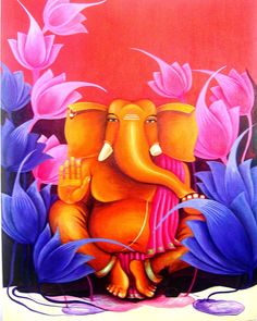 Palette For Oil Painting Ganesha Drawing, Lord Ganesha Paintings, Ganesha Art, Ganesha Tattoo, Indian Paintings On Canvas, Oil Painting On Canvas, Buddha Kunst, Buddha Art, Entryway Art