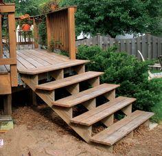 Outdoor Wood Deck Staircase - stair builders, custom staircases, railings, Charlotte, trim work, woodwork, stair design