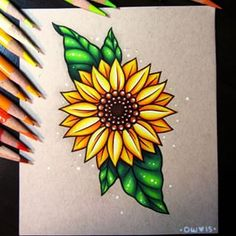 Sunflower - commission by dannii-jo on drawing in 2019 sanat çi Pencil Art Drawings, Art Drawings Sketches, Cute Drawings, Sketch Drawing, Drawing Art, Pencil Drawings Of Flowers, Horse Drawings, Colorful Drawings, Tattoo Sketches