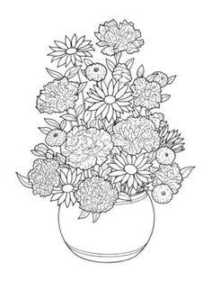 Coloring Book For Adult Floral Bouquets Nature Flower Basket Vase Art Page Sheet
