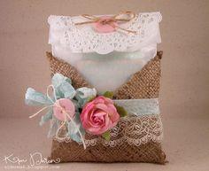 Burlap pocket for glassine bag! i love the whole burlap lace craze !
