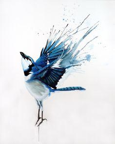 beautiful blue bird painting