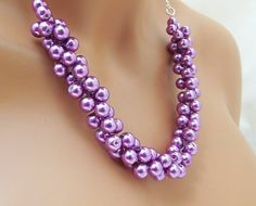 Purple Pearl Necklace Bridal Necklace by CameronsJewelryBox, $30.00