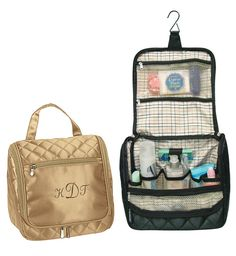 """Quilted Toiletry Travel Tote Bag Zippered Front Pocket Size: 9.5""""L x 5""""Wx 9""""H An elegant, sleek tote made from beautifully quilted satin fabric, this Quilted Toiletry Travel Tote Bag is perfect for organizing all of your, or that special someone's, personal necessities so that they're more than ready to travel with you. Lined in fantastically durable and super stylish plaid material, this little tote features many interior pockets to arrange and store everything you could possibly need…"""