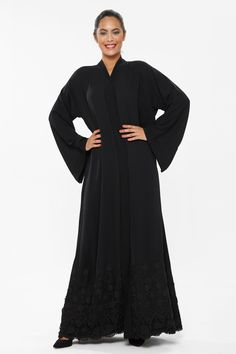 This abaya from o3bay is truly an elegantly design outfit with its soft fabric and design go hand in hand to give a very attractive design. It has a V-neck front open with floral embroidery and lace work at the bottom giving it a attractive look and it is suitable for all age group