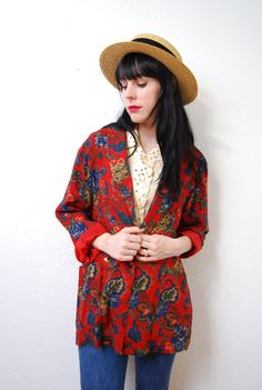 vintage 1990s / bold floral / over size / blazer / jacket by YeYe, $33.00