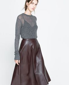 Sheer grey sweater over sexy black tank top with '50's inspired oxblood pleather (or leather if you can get it!) circle skirt makes for an incredibly strong yet cozy NYC look.  Image 3 of EXTRA-FINE SWEATER from Zara