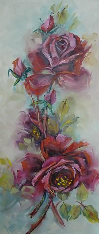 Oil painting by Helen Harper Helen Harper, Oil Paintings, Heaven, Roses, Pottery, Art, Ceramics, Craft Art, Sky
