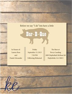 Bar-B-Que, Rehearsal Dinner Invitation