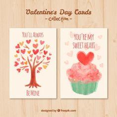 Colección de tarjetas del día de San Valentín de acuarela