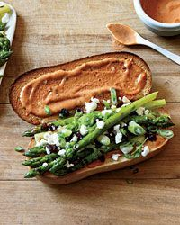 Grilled Asparagus Subs with Smoky French Dressing  - Vegetarian Sandwiches from Food & Wine