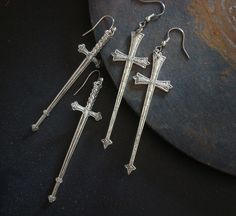 Gothic Cross Earrings, Your Choice, Swords of Thor, Silver ox, Price Right to Add Accents of Beads, Chains Ect, Earring Supplies, USA by ParadiseFindings on Etsy https://www.etsy.com/listing/180935093/gothic-cross-earrings-your-choice-swords