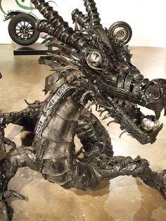 Awesome junk art dragon.