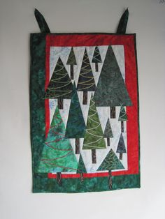 Christmas Trees Wall Hanging  Trees in a by BatiksBySandcastle