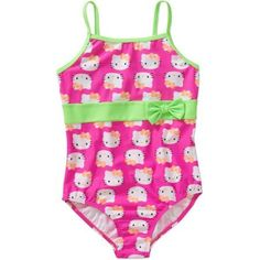 Hello Kitty Girls' Faces One Piece Swimsuit, Pink