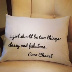 Coco Chanel Quote Pillow 12 x 16 inch pillow case by BurlapBabe on etsy, $24.95