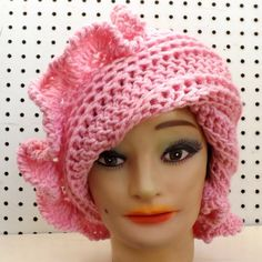 Pink Crochet Hat Womens Hat Womens Crochet Hat Ruffle Crochet Beanie Hat Pink Hat CYNTHIA Beanie Hat for Women Crochet Hat by strawberrycoutureby #strawberrycouture on #Etsy