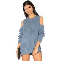 BCBGMAXAZRIA Tressa Sweater ($180) ❤ liked on Polyvore featuring tops, sweaters, sweaters & knits, slit tops, blue sweater, bcbgmaxazria and blue top