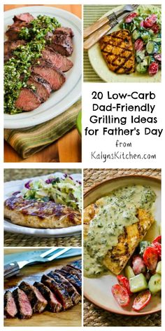 For every healthy-eating dad or dads who need to watch their blood sugar, here are 20 Low-Carb Dad-Friendly Grilling Ideas for Father's Day. #LowCarb #FathersDay [from KalynsKitchen.com]