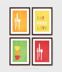 Modern Kitchen Trio Kitchen Wall Art Eat Pray Love Inspirational