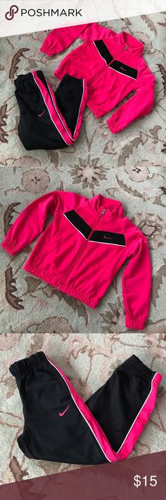 Nike✨Sweat Suit Pink and black girls two piece set. Nice condition. It does have minor pilling on pants leg, but such a sweet set! See pic 4. Nike Matching Sets