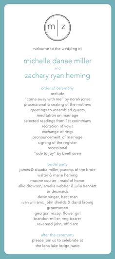 love this wedding program! simple and elegant.