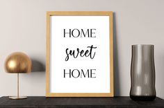 Home sweet Home sign   home decor wall art, home poster, home print, home wall decor, black and white prints, printable wall art download by SmallMiraclePrints on Etsy