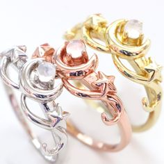 Sterling Silver Wedding Rings, Wedding Rings Rose Gold, Silver Engagement Rings, Star Jewelry, Rose Gold Jewelry, Moon And Star Ring, Magical Girl, Or Rose, Jewlery