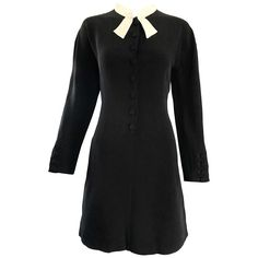 Vintage Kritizia Black and White Long Sleeve Chic Tailored Tuxedo Dress For Sale