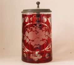 Antique Glass Beer Stein Red Ruby Flashed Wheel Cut C 1870s | eBay