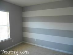 Decorating Cents: Painting A Striped Wall. Love the accent wall and mostly gray . - Decorating Cents: Painting A Striped Wall. Love the accent wall and mostly gray look Striped Walls Bedroom, Striped Accent Walls, Blue Gray Bedroom, Vertical Striped Walls, Striped Painted Walls, Grey Chevron Nursery, Stripe Walls, Teen Bedroom Colors, Bedroom Boys