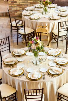 Champagne Linen With Oversize Doily Reception Tables | Photo: Aldabella Photography | Floral Arrangements: Floral Design of Europe |