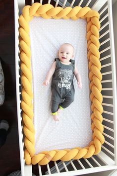 Get a quality product, a shapely and very soft, beautifully braided crib bumper that is made from premium 100% hypoallergenic materials. The crib bumper protects your babys hands and feet from getting stuck between crib spindles as well as it protects the babys head and body from hitting and bruising against the crib walls. The bumper allows for increased air flow into and out of the crib compared with standard bumpers and with many colours to choose from, it will surely match your nursery…
