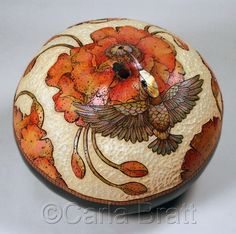 "Contemporary Sculpture - ""Hummingbird & Poppies"" (Original Art from Carla Bratt)"