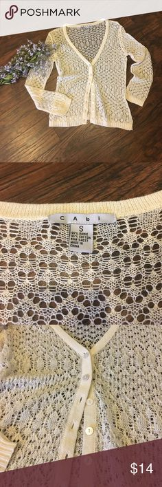 CAbi lace knit cardigan Lovely cream lace knit cardigan.  Deep V-neck button down.  Great for a cool summer evening.  Dress up or down!  Beautiful! Item 1041 CAbi Sweaters Cardigans