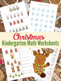 Have fun with math with these Christmas kindergarten math worksheets