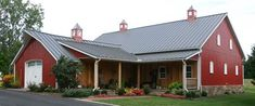 RED BARN HOUSE POST FRAME PRINTS W/MATERIALS LIST & LOFT LAYOUT 2,400 sq ft. This package includes dimensioned floor plans, elevations, roof pitches, and a detailed materials list for post fram…