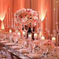 A mirrored tabletop reflects a stunning pink wedding ~ Butterfly floral and event design