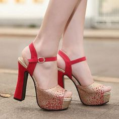 Peep toe Red and Gold High Heels Fashion Sandals