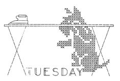 Embroidery transfer design.  Days of the Week.  DOTW.  Tuesday.  Scottie (Scotty) dog.