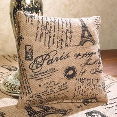 French Country Burlap Pillow