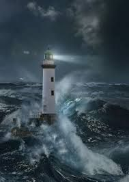 : # Lighthouses - Lighthouse In The Storm By Moonlight. Title: Lighthouse In The Storm By Moonlight.