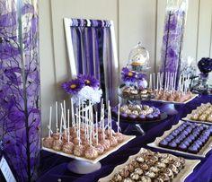 Purple and Zebra birthday party dessert table Cupcake Celebrations