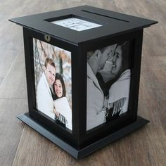 Black Wedding Photo Card Box by The Perfect Card Box