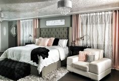 Master bedroom. Dramatic Wing back bed. Champagne/ Rose gold/ Pink/ blush with greys and blacks!