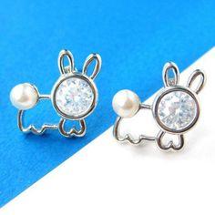 Bunny Rabbit Animal Stud Earrings with Rhinestones and Pearls $6.00
