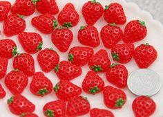 13mm Little Red Strawberry Flatback Resin Cabochons - 8 pcs set