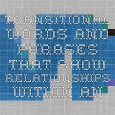 Transitional words and phrases that show relationships within and between sentences