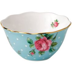 Royal Albert Polka Blue Ice Cream Bowl ($19) ❤ liked on Polyvore featuring home, kitchen & dining, royal albert and bone china